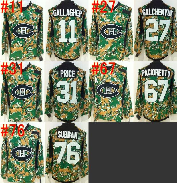 2015 New Montreal Canadiens  11 Brendan Gallagher Veteran s Day Practice  Green Camo Jersey Canadians Men Hockey Jerseys Cheap c8a2f7ee3