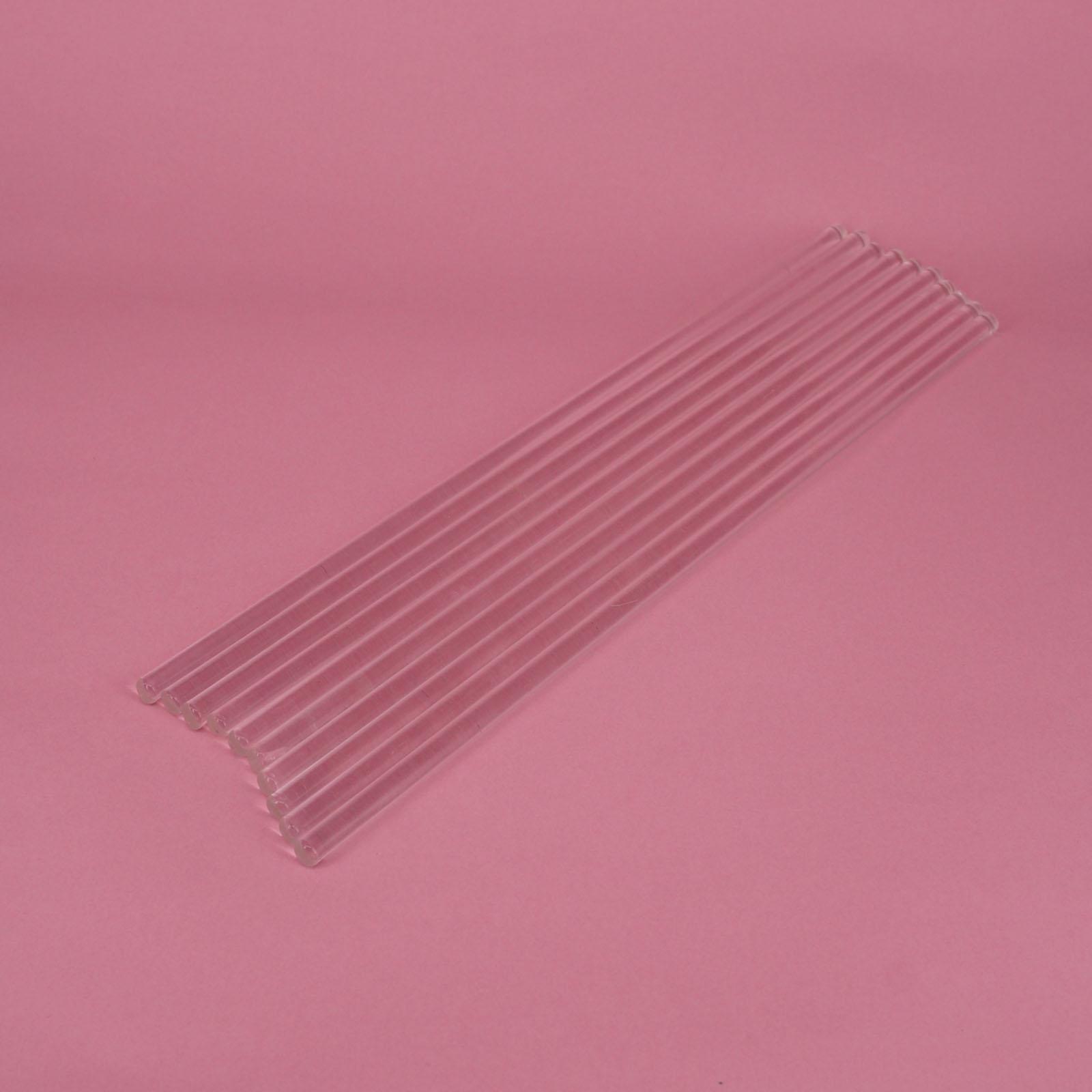 LOT10 6x250mm Lab Glass Stirring Rods Borosilicate High Resistant Stirrer