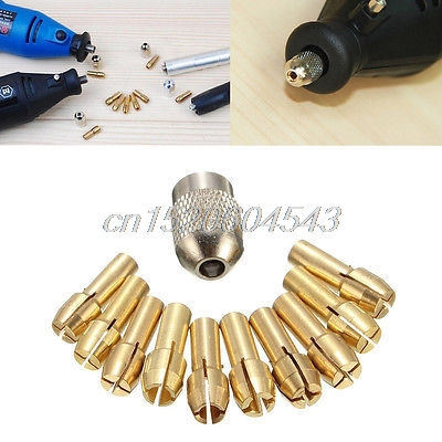 10Pcs 0.5-3.2mm Brass Drill Chuck Collet Bits 4.3mm Shank For Dremel Rotary Tool R06 Drop Ship 10pcs set brass drill chucks collet bits 0 5 3 2mm 4 3mm shank for dremel rotary tool
