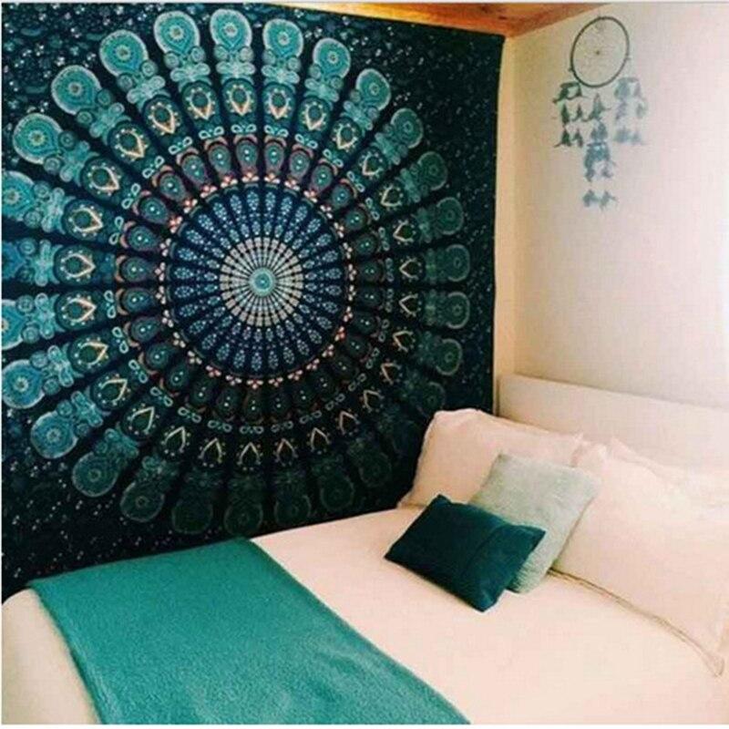 Mandala indiano tapeçaria tapeçaria pendurado praia de areia tapete cobertor acampamento tenda viagem colchão almofada dormir mandala tapeçaria