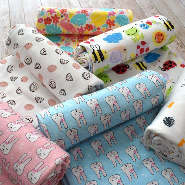 6d31e355f26 Printed Cotton Knitted fabrics 100% cotton jersey baby cotton fabric for DIY  fashion bedding clothing making fabric 50*170cm