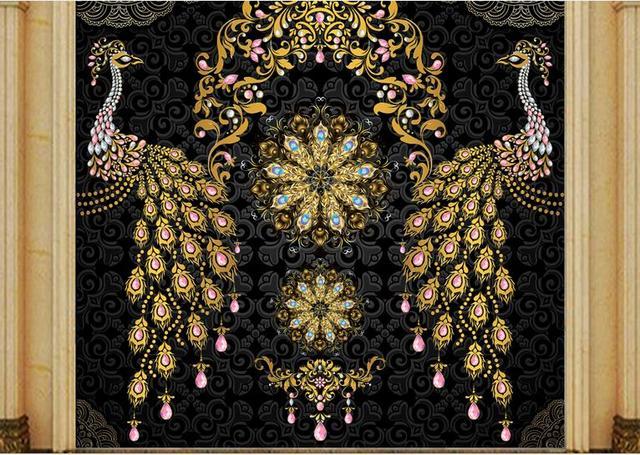 custom 3D luxury wallpaper Luxury European Black Gold Gem