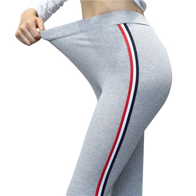 Plus Size 5XL Quality Cotton Leggings Side Stripes Women Casual High-stretch Leggings Pants High Waist Fitness Leggings Female