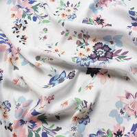 2018 high quality white cartoon floral printed chiffon fabric soft comfortable clothing tissue for women dress, diy material
