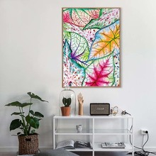 Watercolor Colorful Leaf Poster Canvas Printings Pop Wall Art Paintings Pictures for Kids Bedroom Home Decorations