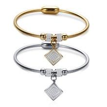 Zircon titanium bracelet, square snake chain, magnetic suction, ladies bangle, fashion jewelry accessories wholesale,ZJ1008
