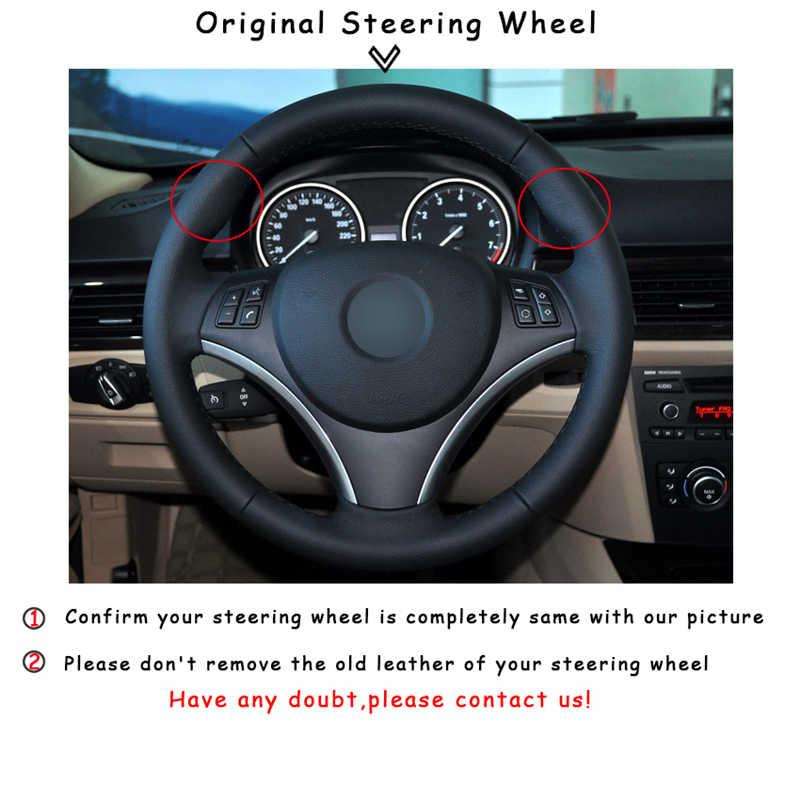 Hand stitched Black Genuine Leather Black Suede Car Steering Wheel Cover for BMW E90 320i 325i 330i 335i E87 120i 130i 120d