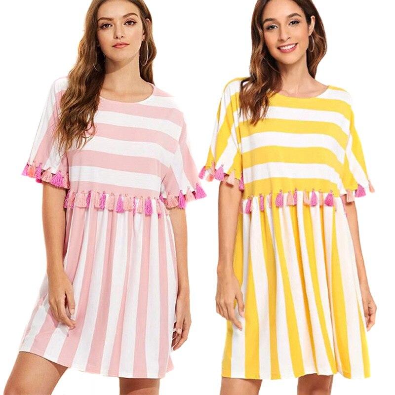 Fashion Spring Autumn Women Dress Short Sleeve O-neck Striped Tassels Girl Loose Casual Dresses H9