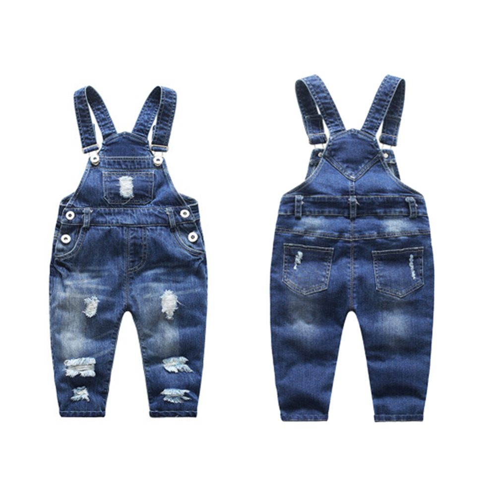 Denim Overalls Pants Boy Girl Trouser Jeans Denim Jumpsuit Overlles Kids Autumn Winter Hole Jeans Jumpsuits Casual Clothes jeans woman autumn winter 2018 girl elegant denim rompers womens jumpsuit with hoodies plus size streetwear leotard high quality