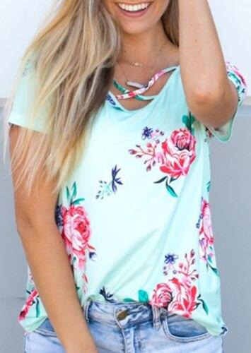 2017 sommer mode frauen bluse floral kurzarm damen baumwolle lose - Damenbekleidung - Foto 5