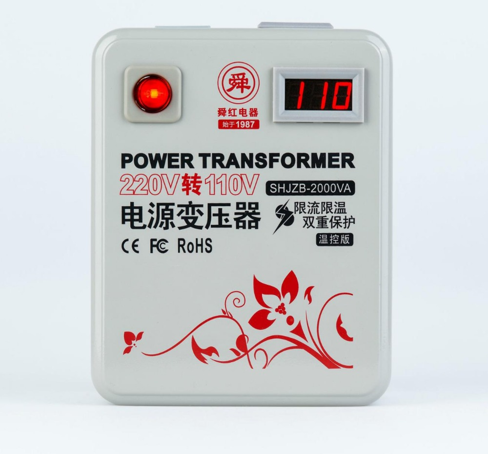 Быстрая доставка SHJZB-2000VA 220 В до 110 В 2000 Вт измеритель температуры понижающий преобразователь напряжения трансформатор преобразует медь