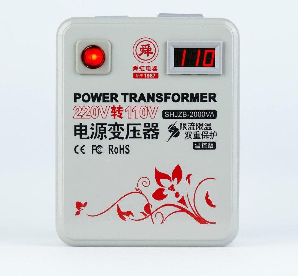Fast Shipping SHJZB-2000VA 220v to 110v 2000W temperature control Meter Step Down Voltage Converter Transformer Converts copper 1 pc 1500w 1 5kva step down voltage converter transformer 220v 240v to 110v 120v