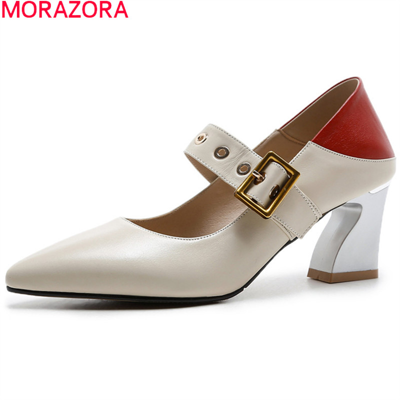 MORAZORA 2018 fashion spring autumn shoes woman pointed toe elegant pumps women shoes genuine leather high heels shoes hee grand sweet patent leather women oxfords shoes for spring pointed toe platform low heels pumps brogue shoes woman xwd6447