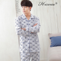 2017-Men 's pajamas long - sleeved cardigan lapel two - dimensional code creative printing cotton pajamas R204
