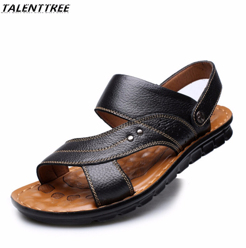 2018 new summer hot male sandals Genuine leather soft bottom comfortable beach shoes non-skid leather sandals Men shoes flats