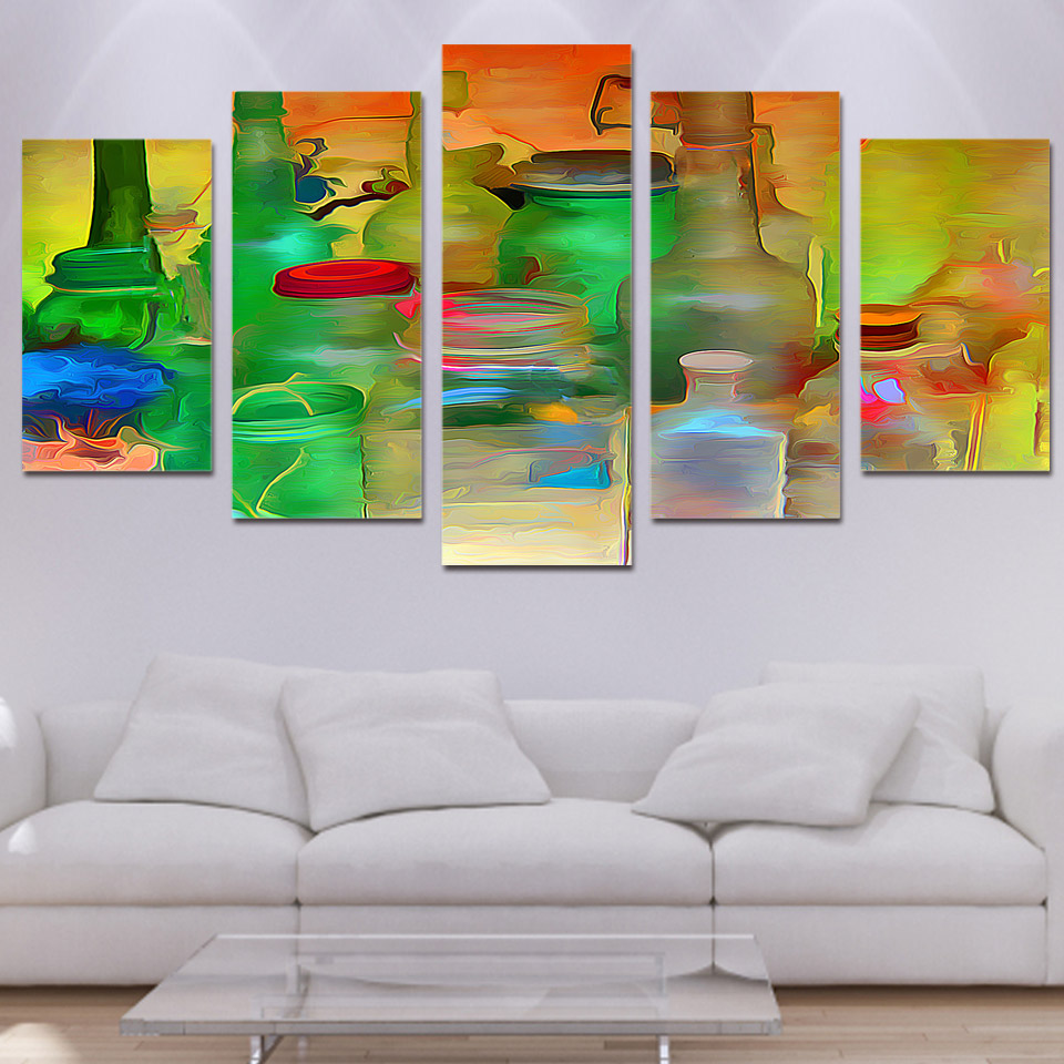 5 piece canvas prints wall art watercolor ware bottle painting picture print home decor living - Canvas prints home decor photos ...