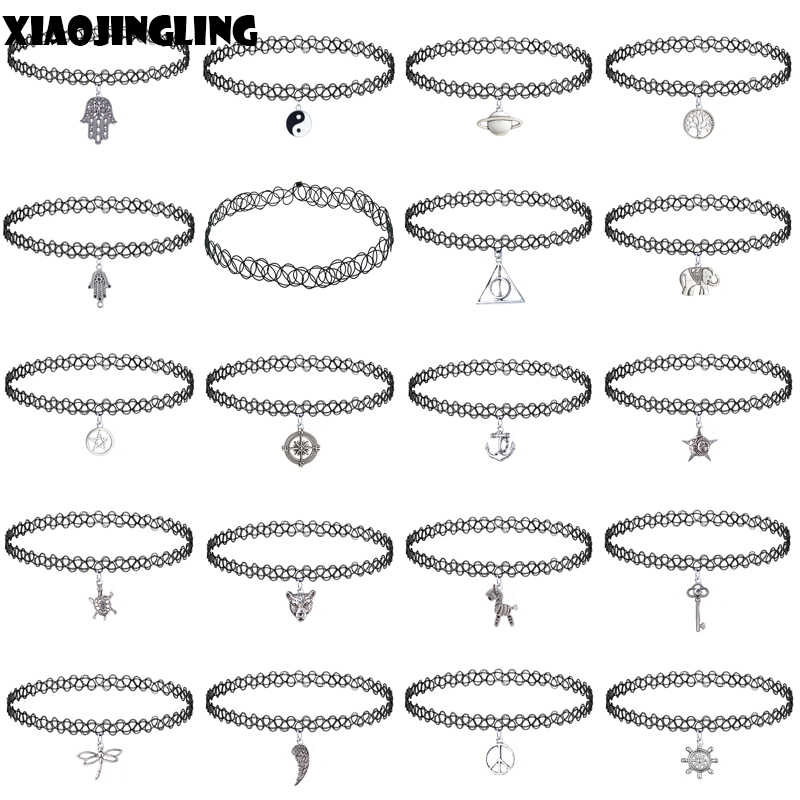 XIAOJINGLING 19 Designs Women Fashion Simple Sexy Tattoo Choker Necklace Charm Punk Retro Gothic Elastic Necklaces Wholesale