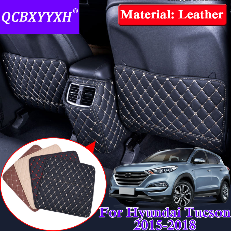 QCBXYYXH Car Armrest Cover Kick Pad Case For Hyundai Tucson 2015-2018 Back Seat Protection Mat Children Anti-Kick Pad Leather