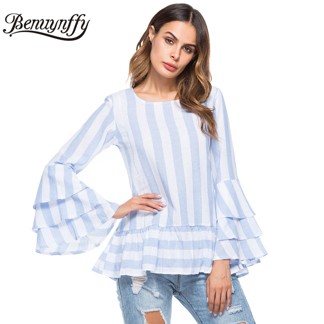 17961ab864 Benuynffy Layered Flare Sleeve Ruffles Striped Shirt Top Women Blouses  Spring Fashion Casual O-Neck Long Sleeve Fall Blouse X781