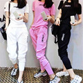 two piece set 2016 fashion Leisure time motion printing Letter Haren pants 2 piece set women harajuku shorts t shirt women