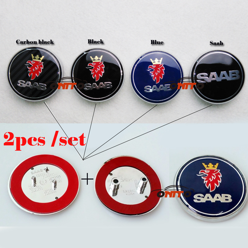100% 68mm carbon black black SCANIA SAAB car front hood bonnet emblem rear badge sticker car emblem for 03-10 Saab 9-3 9-5 93 95