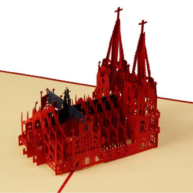 1Pc Red Church Building Postcards Folded Laser Cut Cards 3D Post Card Greeting Cards Fold Type Wedding Invitations Cards K2 30pcs in one postcard take a walk on the go dubai arab emirates christmas postcards greeting birthday message cards 10 2x14 2cm