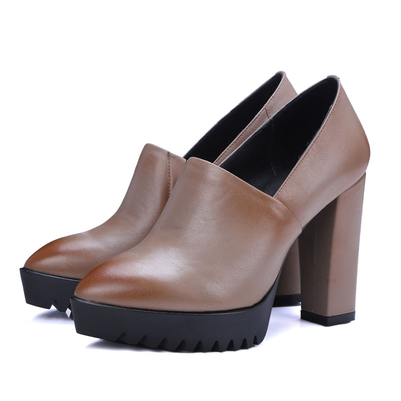 2017 Ladies Pumps Pointed Toe European Women Shoes Slip On Sexy High Heels Genuine Leather Footwear Fashion Women Platform Pumps 2017 shoes women med heels tassel slip on women pumps solid round toe high quality loafers preppy style lady casual shoes 17