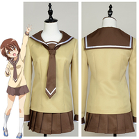 Anime Sansha Sanyo Girls School Uniform Coat Skirt Socks Cosplay Costume Halloween Carnival Costumes