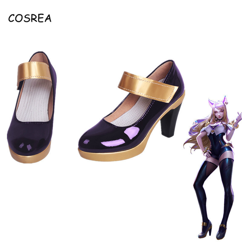 Game LOL KDA AHRI Cosplay Leather Shoes High Heels LOL K/DA Cosplay Purple Black High-Heeled Shoes For Women Ladies Girls Shoes