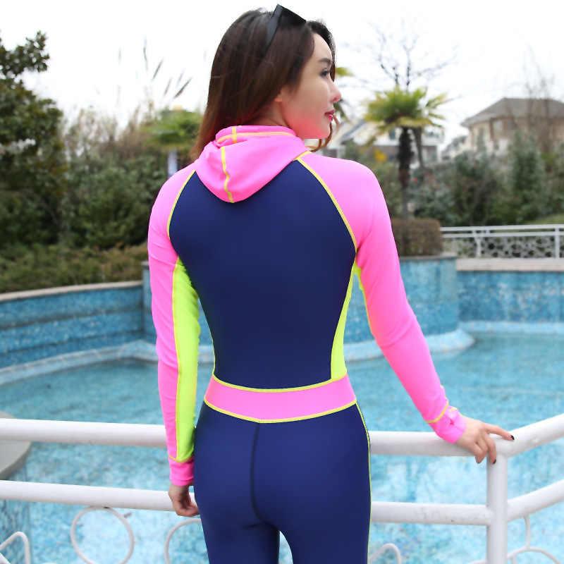 2017 Tubuh Penuh Warna Kontras One-piece Melompat Suit Lycra Scuba Diving Kulit Hood Bra Pink Biru Kuning Biru Memblokir untuk wanita
