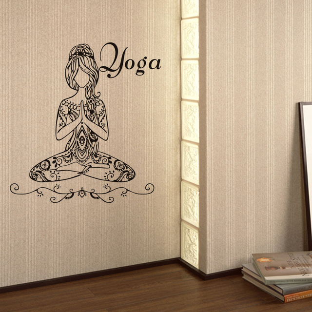 US $9 98 5% OFF|Hot Woman Girl Yoga Wall Stickers Living Room Yoga Room  Wallpaper Home Decorative Wall Art Decal Poster Glass Decal Decoration-in  Wall