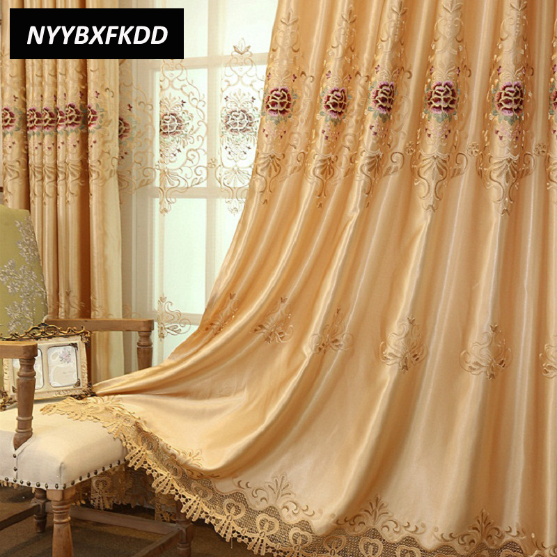 High Quality Luxury Europe Embroidered Blackout Curtains Cloth For Bedroom Living Room Window Curtain Treatments Tulle Cortinas