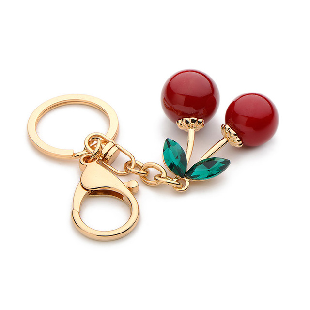 Inokeey Alloy Red Cherry Key Chain Women Metal Green Rhinestone Fruits Plants Accessories Bag Key Ring