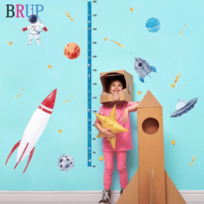 Stickers muraux en PVC | Autocollant de hauteur pour enfants, fusée spatiale, décor de planète univers, autocollants muraux en vinyle