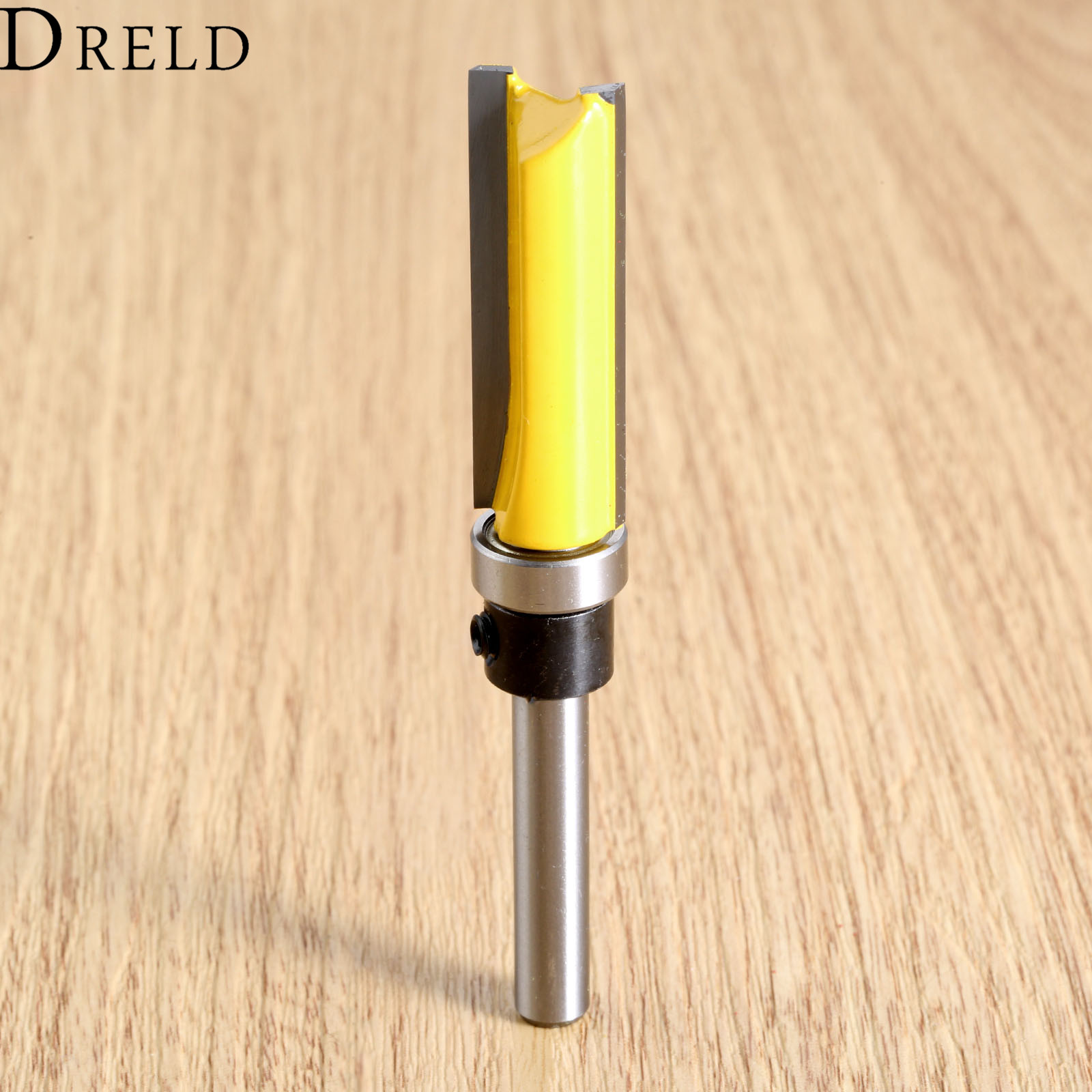 DRELD 1pcs 1/4 Shank Flush Trim Router Bit Bearing Woodworking Milling Cutter Wood Drilling Carpenter Tools Carbide 1/4*1/2*38 16pcs 14 25mm carbide milling cutter router bit buddha ball woodworking tools wooden beads ball blade drills bit molding tool