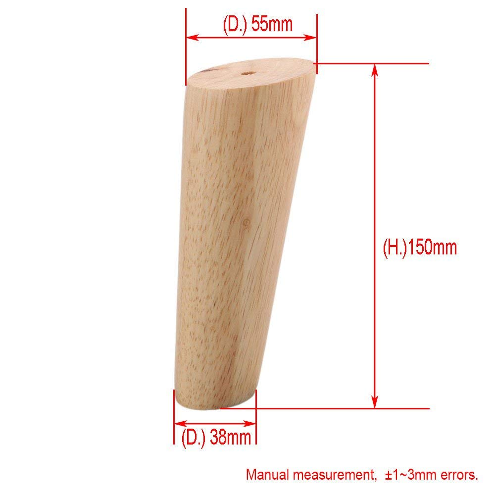 Oak Wood 15cm Height Reliable Furniture Leg With Iron Plate Sofa Table Cupboard Feet Set Of 4