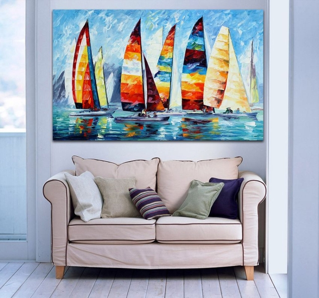 100 hand painted palette knife oil painting colorful sailing boat regatta sunset seaside wall