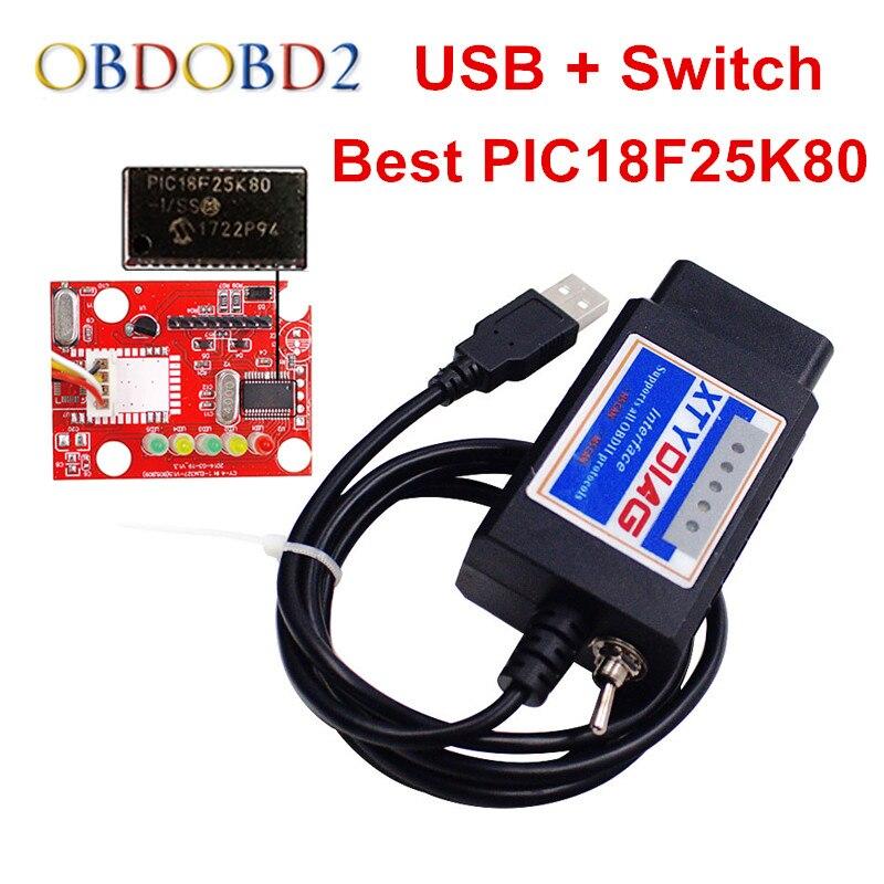 Nouvelle Arrivée Pour Ford ELM327 USB V1.5 Commutateur PICI8F25K80 ELM 327 Code lecteur Pour Ford HS PEUT et Pour MS PEUT Voiture Outil De Diagnostic
