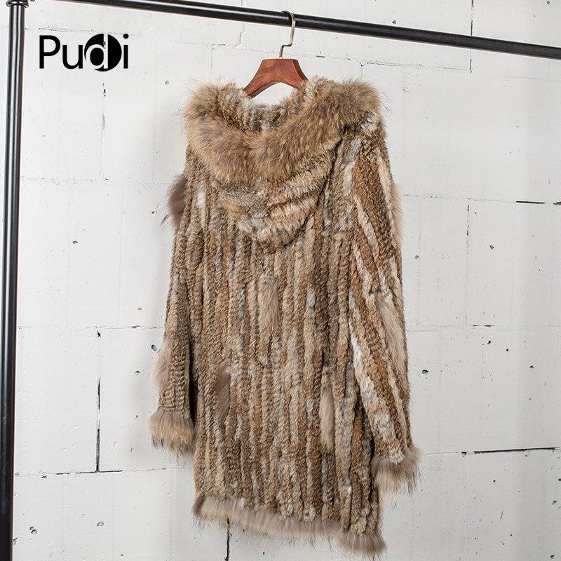 CT7010 femmes tricoté véritable véritable véritable manteau de fourrure de lapin manteau manteau vestes vêtement et col de raton laveur longueur 80 cm-in Réel De Fourrure from Mode Femme et Accessoires    2