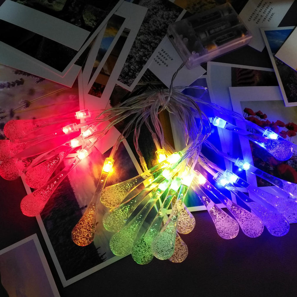 2.2m 20Leds USB LED String Light Waterdrop 8 Mode Twinkle Fairy Light Bulb Lamps Christmas Party Garland Home Decor Lighting (4)