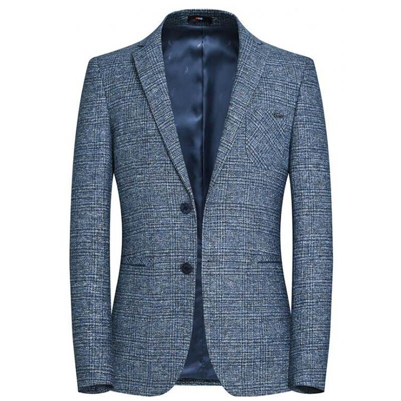 Для мужчин S Пиджаки для женщин и Пиджаки бренд разрабатывает Однобортный 2 Пуговицы Slim Fit Blazer Для мужчин синий серый смокинг костюм для Homme