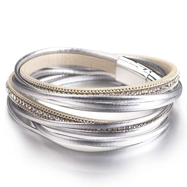 ALLYES Multilayer Leather Bracelets for Women Femme 6 Colors Magnet Clasp Crystal Bohemian Double Wrap Bracelet Jewelry 3