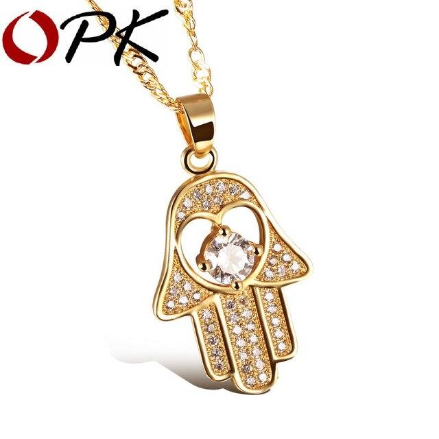 OPK Fatima Hand Pendant Necklaces Antique Silver Color Gold Color Women Man Religious Hot Fashion Hamsa Hand Jewelry KX632