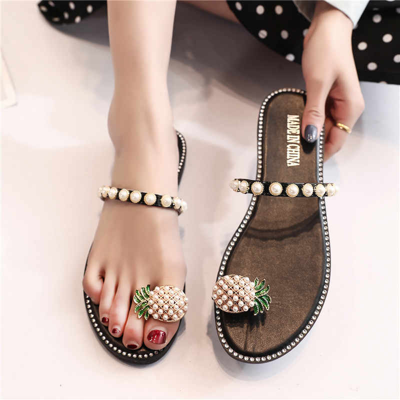 Fashion Beaded Pearl Pineapple Flip Flops Women Outdoor Flat Sandals Casual Shoes Woman Beach Summer Slippers Bohemian Slides