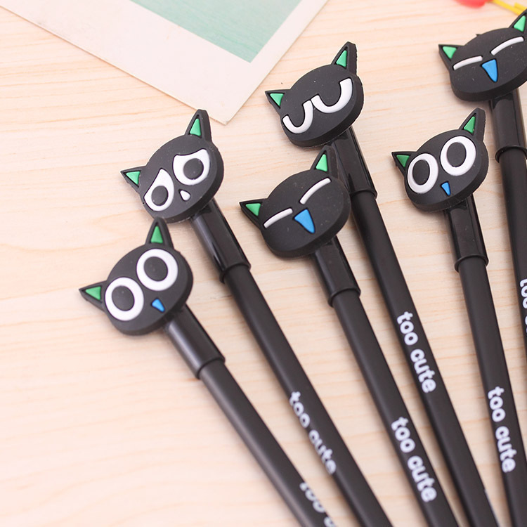 цена на 36 Pcs/lot Cute Cat Gel Pen Novelty Cartoon Animal Kitty Pens Black Ink Stationery School Wholesale Office Supplies Gel Pen