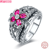 Hot jrose 5ct AAA wedding red ring female 100% solid standard 925 Sterling Silver jewelry engagement ring jewelry free shipping