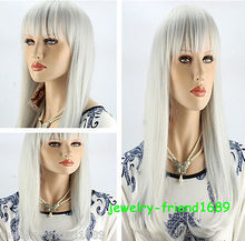 Wholesale heat resistant LY free shipping New wig Heat Resistant Fashion White Long Straight Cosplay Women