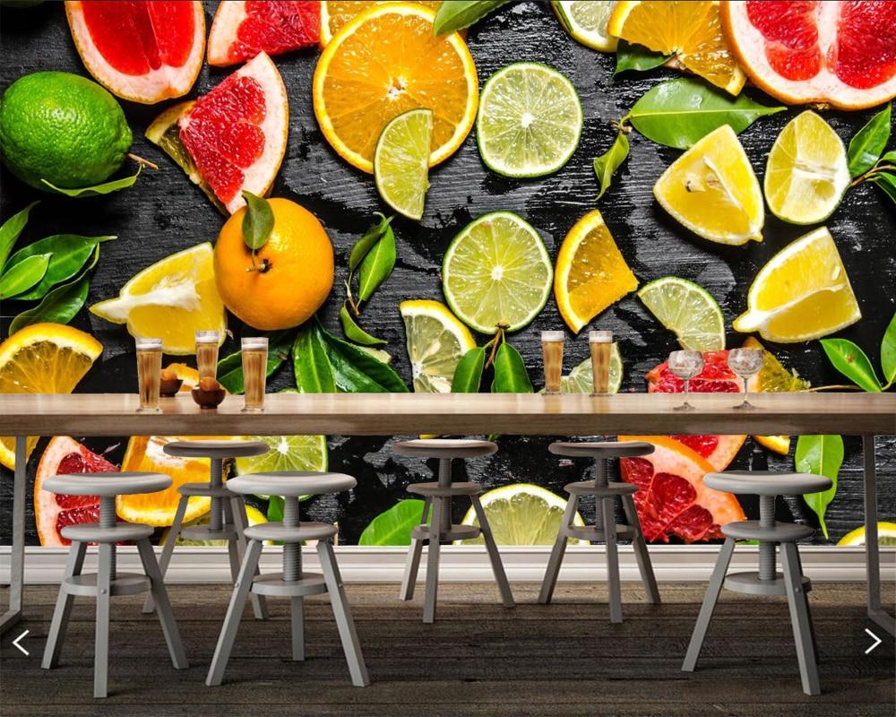 Citrus Lime Lemons fruits Food 3d wallpaper,restaurant coffee shop dining room living room tv wall kitchen bar custom 3d murals(China)
