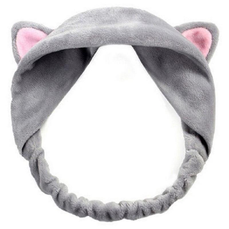 ELECOOL Cute Cat Ears Headband Hairband Turban Spa Bath Wash Elastic Hair Band Wrap Clips Hair Accessories Makeup Tool