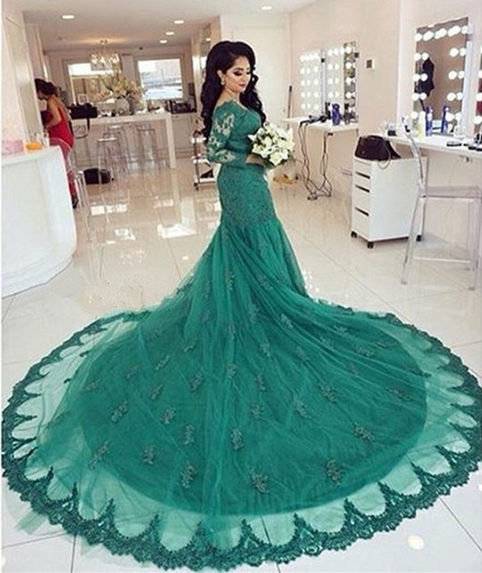 Green Lace Mermaid Wedding Dress